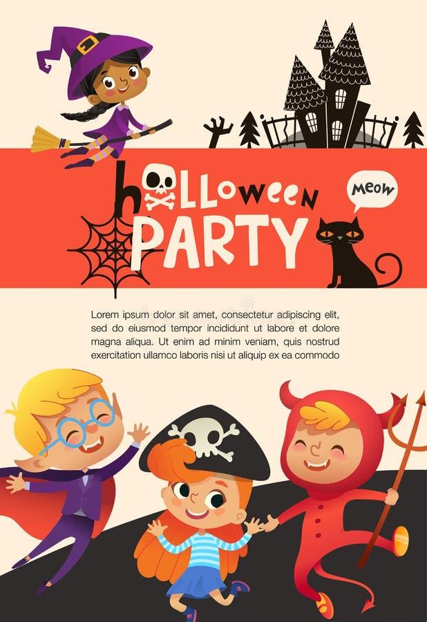 Reklamblad- eller affischmall med det gulliga lyckliga iklädda halloween för pyser och för flickor dräkter och stället för text stock illustrationer