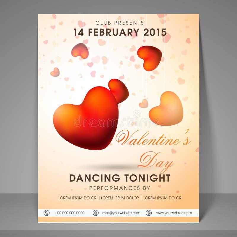 Reklamblad eller baner för parti för valentindagberöm stock illustrationer