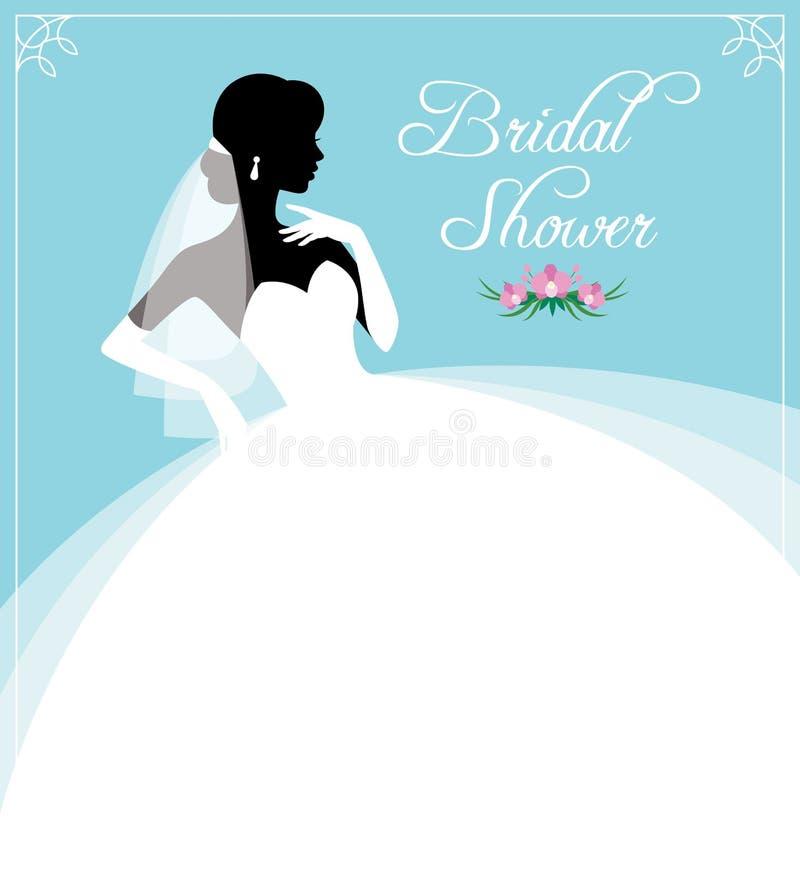Reklamblad eller inbjudan för en brud- dusch Konturstående av royaltyfri illustrationer