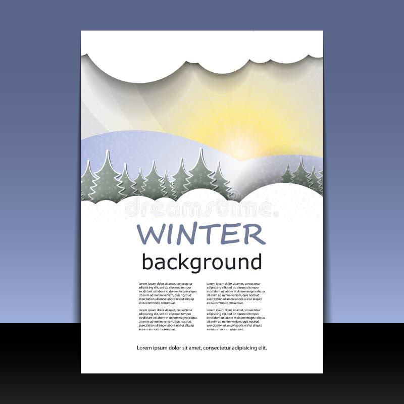 Reklamblad- eller räkningsdesign - vinter Tid vektor illustrationer