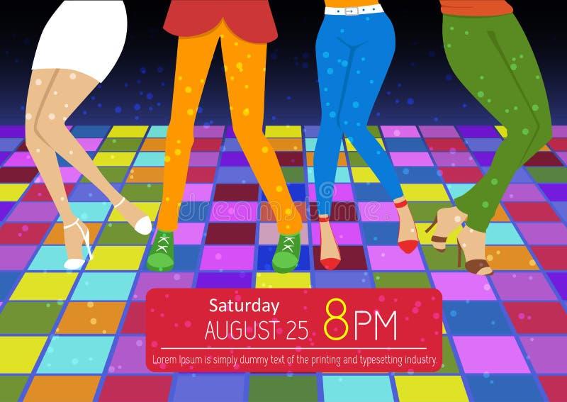 Reklamblad för diskoparti Fot av folk som dansar på klubbapartiet oigenkännligt royaltyfri illustrationer