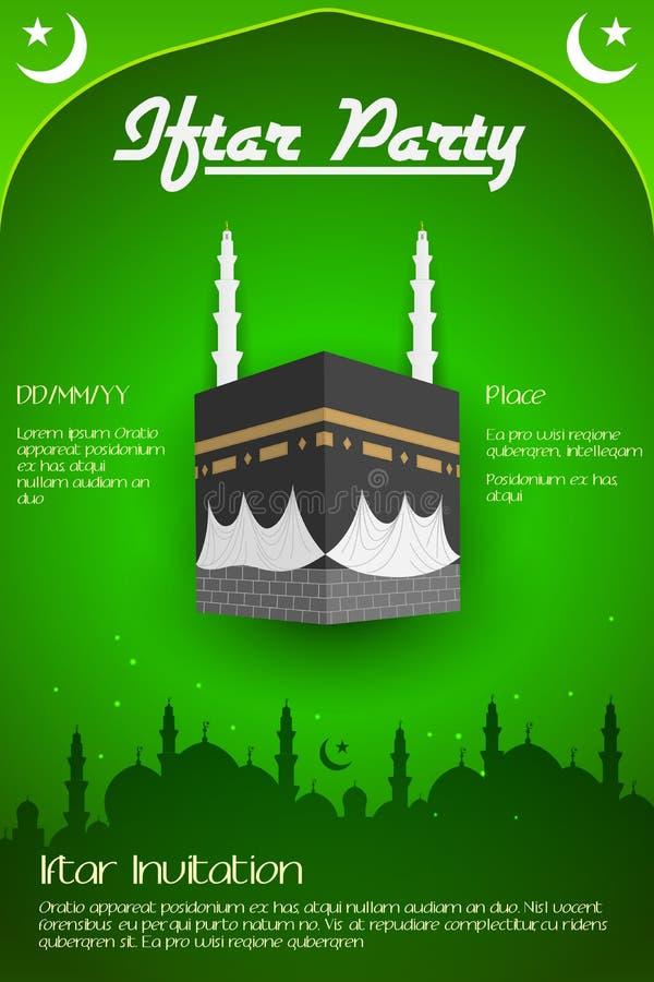 Reklamblad för Iftar parti med Mecka stock illustrationer