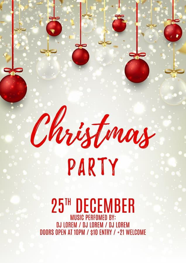 Reklamblad för julparti med glass och röda bollar stock illustrationer