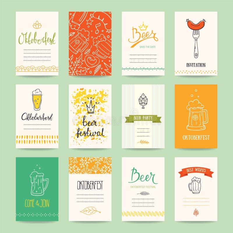 Reklamblad för Oktoberfest ölfestival, affischmall royaltyfri illustrationer
