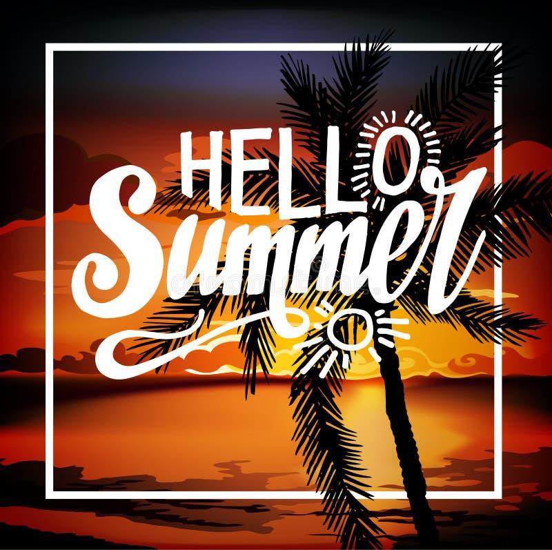 Reklamblad för parti för Hello sommarstrand royaltyfri illustrationer
