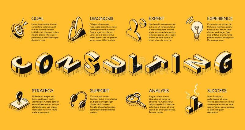 Reklamblad för vektor för konsulterande service för affär isometrisk stock illustrationer