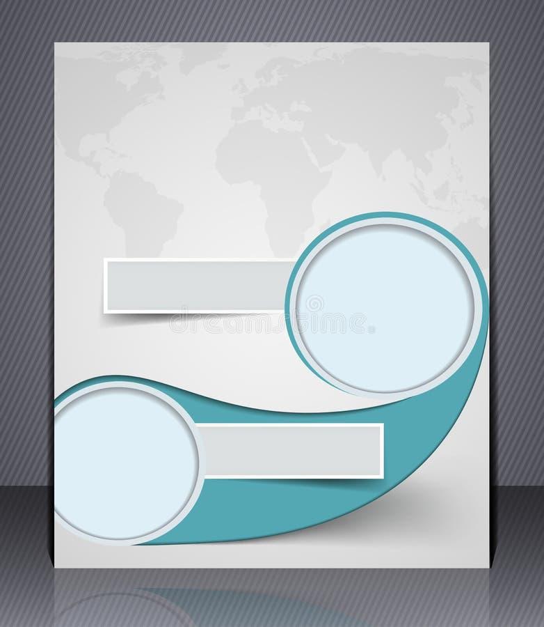 Reklamblad för vektororienteringsaffär med världskartan, tidskrifträkning stock illustrationer