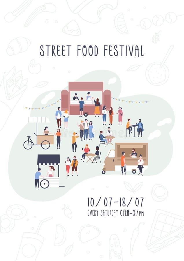 Reklamblad, inbjudan eller affischmall för festival för sommargatamat med folk som går mellan skåpbilar eller matleverantörer stock illustrationer