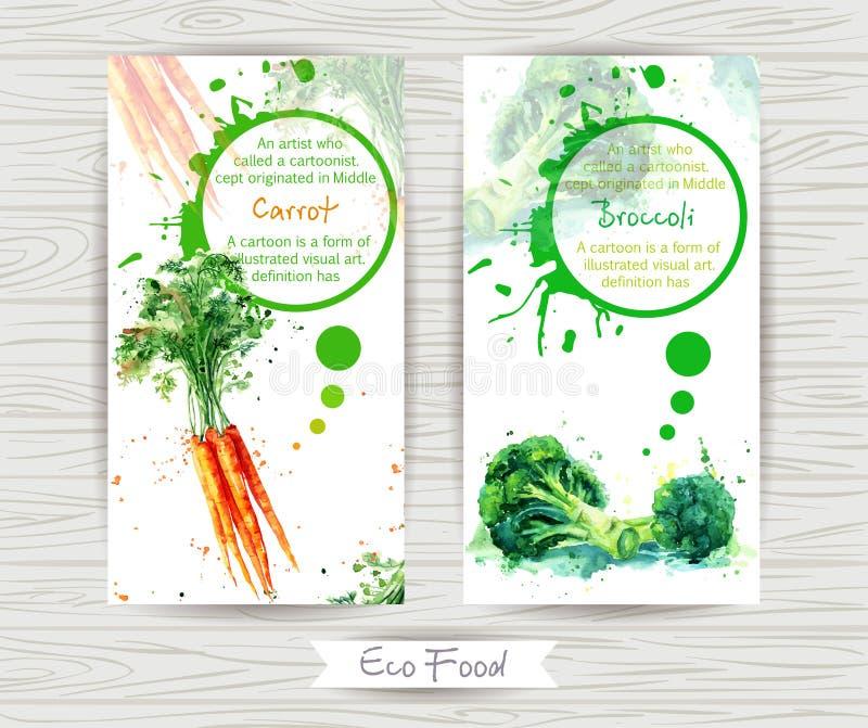 Reklamblad med moroten och broccoli för flygillustration för näbb dekorativ bild dess paper stycksvalavattenfärg royaltyfri fotografi