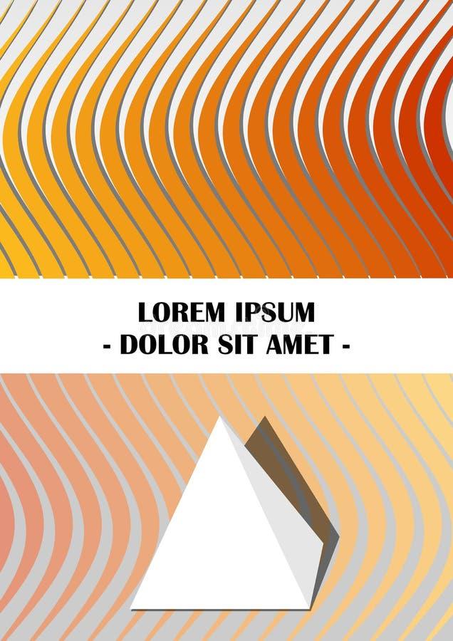 Reklamblad, räkning, broschyr, bok, räkningmall i guling och orange design med abstrakta krabba former och den pappers- pyramiden stock illustrationer