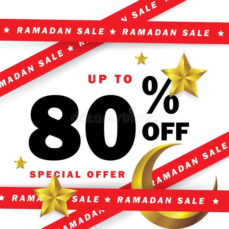 Reklamblad-, Sale, rabatt-, etikett- eller banertillfälle av Ramadan Kareem och Eid Mubarak Celebration med band stock illustrationer