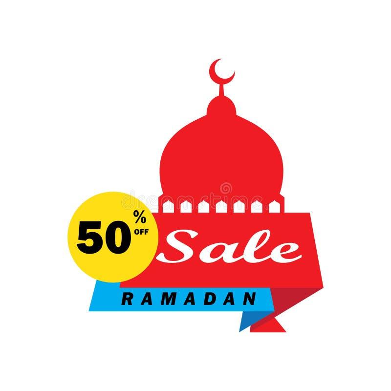 Reklamblad, Sale, rabatt, hälsningkort, etikett eller banertillfälle av Ramadan Kareem och Eid Mubarak Celebration stock illustrationer
