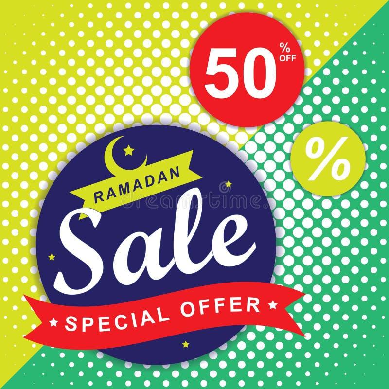 Reklamblad, Sale, rabatt, hälsningkort, etikett eller banertillfälle av Ramadan Kareem och Eid Mubarak Celebration royaltyfri illustrationer