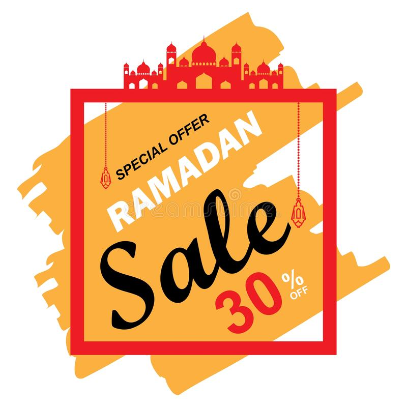 Reklamblad, Sale, rabatt, hälsningkort, etikett eller banertillfälle av Ramadan Kareem och Eid Mubarak Celebration vektor illustrationer