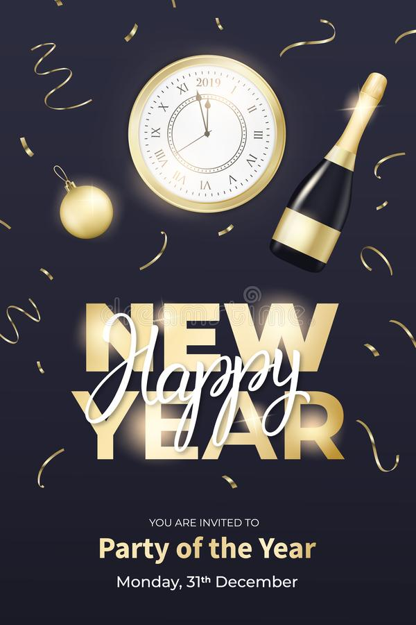 Reklambladdesign för nytt år Orientering med champagneflaskan, klockan, den guld- bollen och bokstäver för nytt år vektor illustrationer