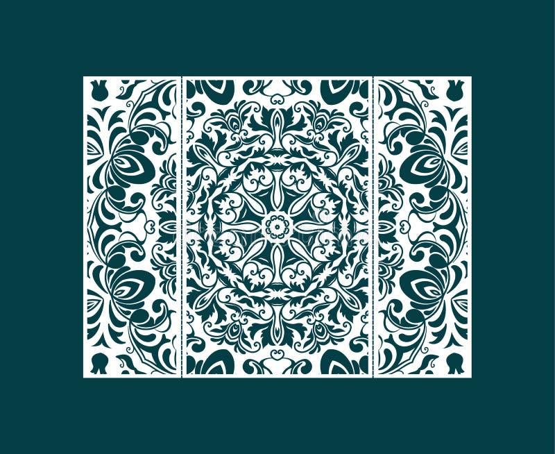 Reklambladlaser klippte en mandala Klipp det pappers- kortet med snör åt modellen Bröllopinbjudningar, vykort och mallar för affä vektor illustrationer