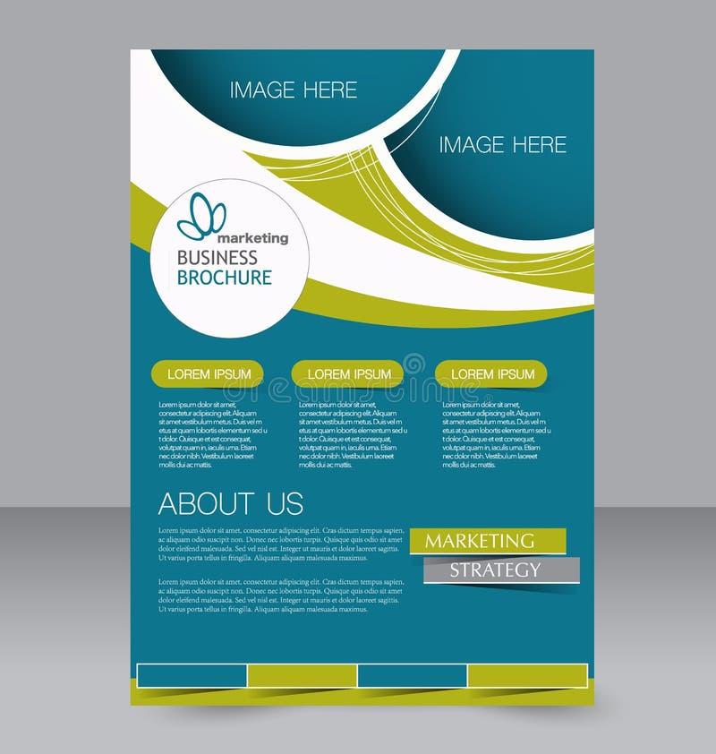 Reklambladmall Blå abstrakt orienteringsmall med fyrkanter Redigerbar affisch A4 för design stock illustrationer