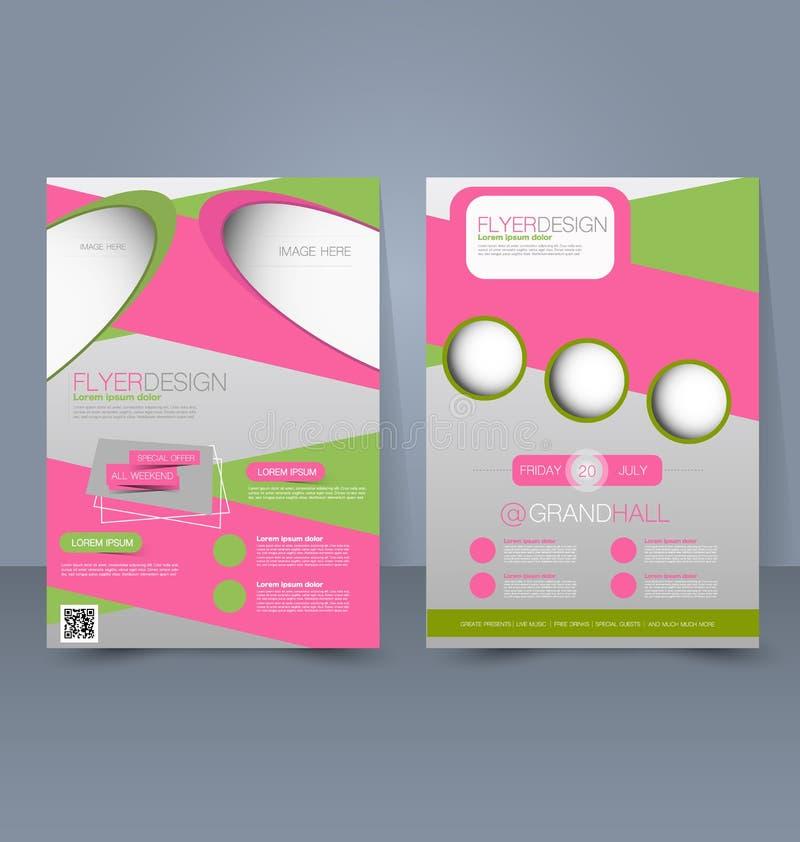 Reklambladmall Blå abstrakt orienteringsmall med fyrkanter Redigerbar affisch A4 för designutbildning, presentation, website Rosa royaltyfri illustrationer