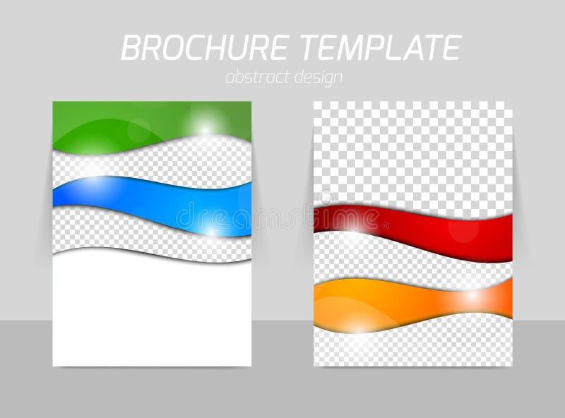 Reklambladmallbaksida och framdeldesign stock illustrationer