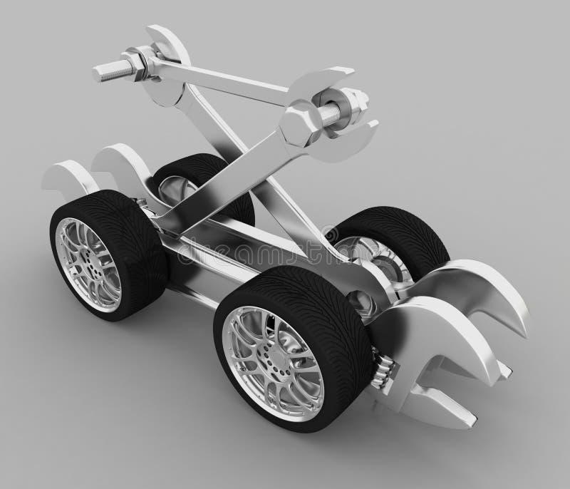 Reklameanzeige der Werkstatt für Reparatur der Autos vektor abbildung