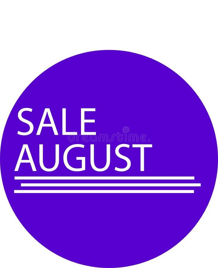 REKLAMOWA ikona DLA TWÓJ produkt sprzedaży SIERPIEŃ miesiąca ilustracji