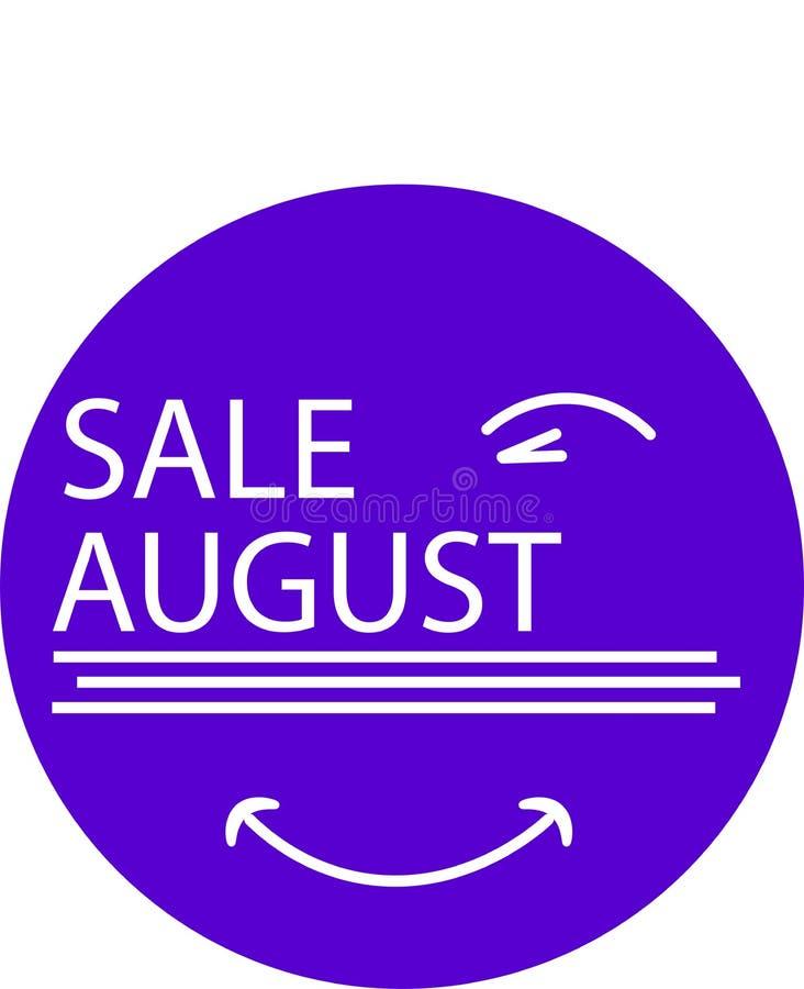 REKLAMOWA ikona DLA TWÓJ produkt sprzedaży SIERPNIOWEGO miesiąca Z okiem ilustracja wektor