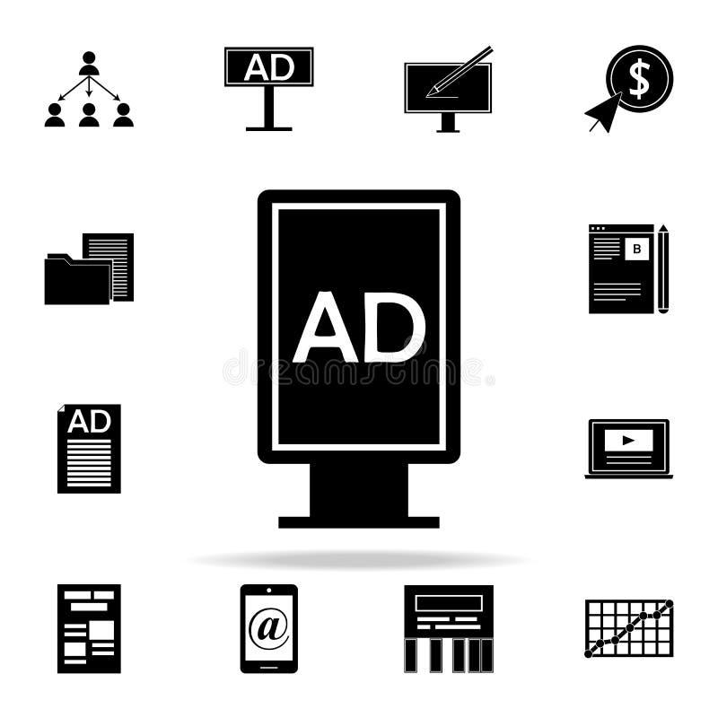 Reklamowa statywowa ikona Cyfrowych ikon marketingowy ogólnoludzki ustawiający dla sieci i wiszącej ozdoby ilustracja wektor