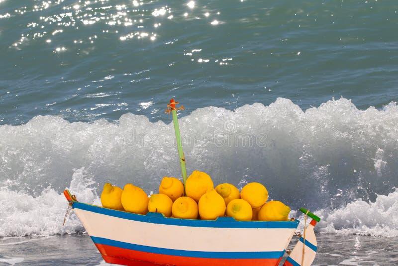 Reklamowe świeże cytryny Skład drewniany model żeglowanie statek zafrachtujący z świeżymi cytrynami przed łamanie oceanu falą, fotografia royalty free