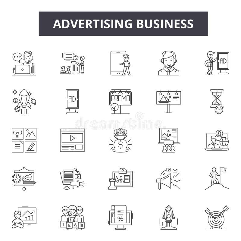Reklamowe biznesowej linii ikony Editable uderzenie znaki Pojęcie ikony: wprowadzać na rynek, cyfrowa promocja, projekt, promo royalty ilustracja