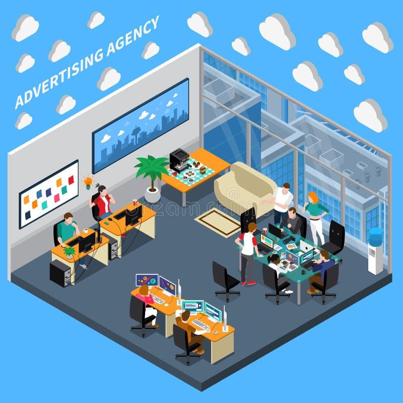 Reklamowej agenci Isometric skład ilustracji