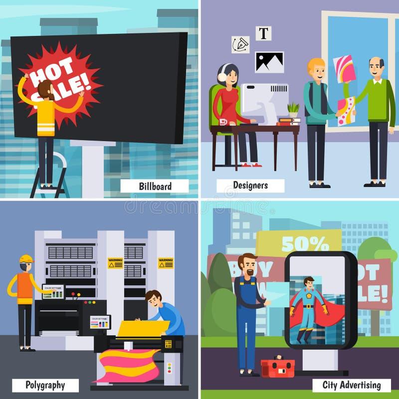 Reklamowej agenci Ortogonalny Płaski pojęcie ilustracji