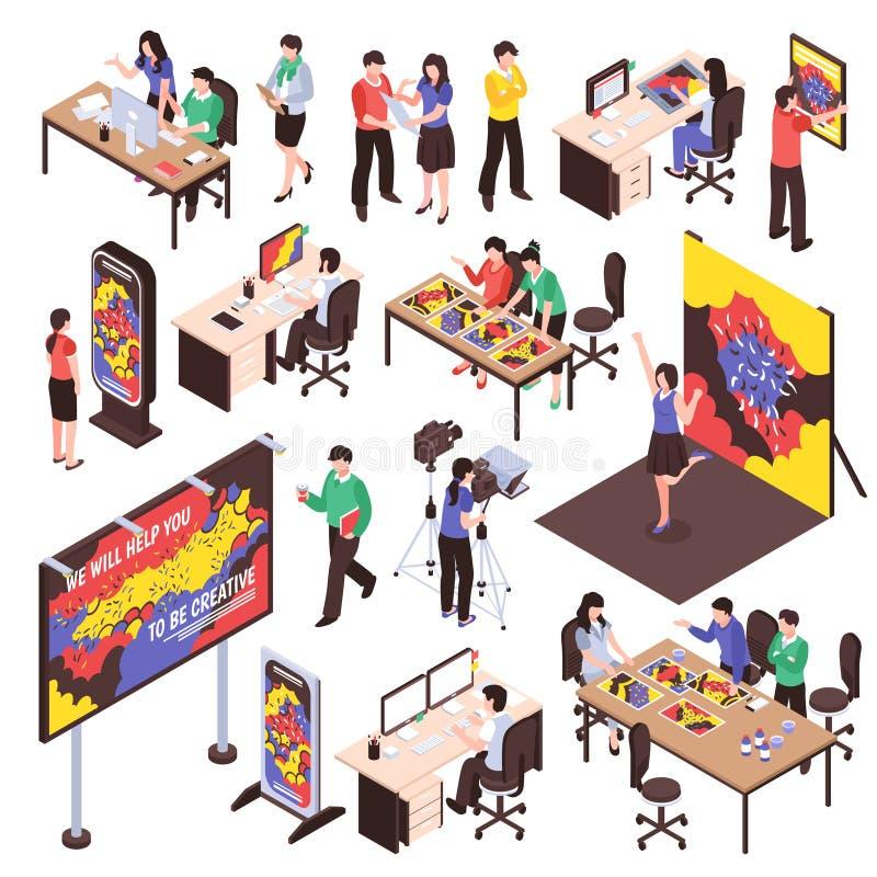 Reklamowej agencji set ilustracji