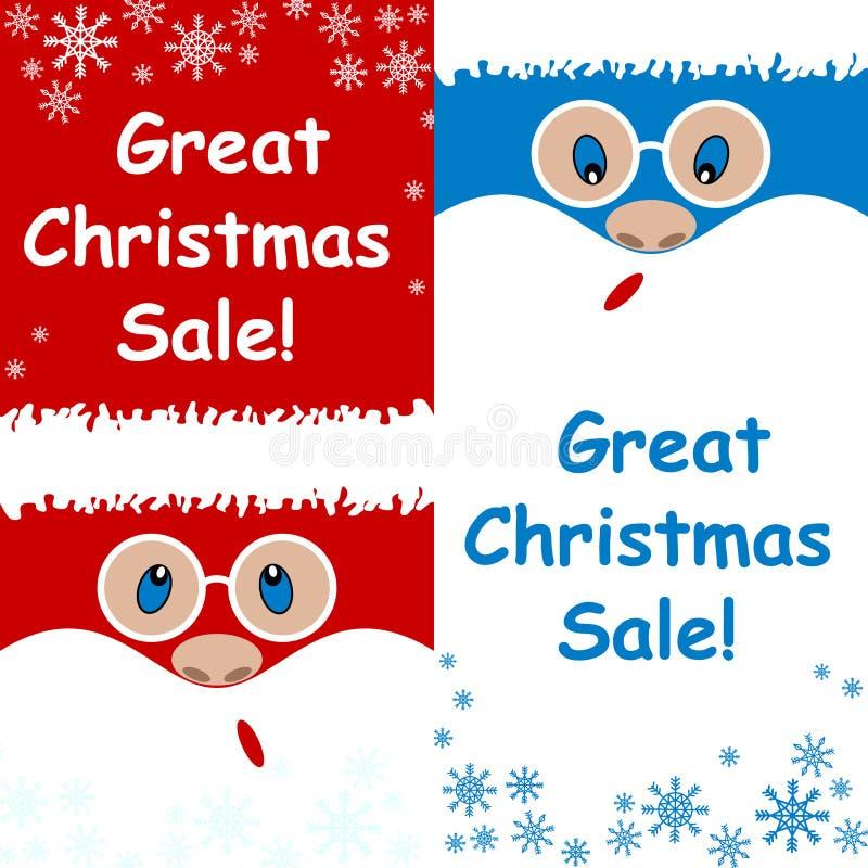 Reklamowej karty wielka Bożenarodzeniowa sprzedaż ustalony Święty Mikołaj zaskakuje na błękitnym i czerwonym tle royalty ilustracja