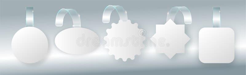 Reklamowej sprzedaży wobbler na bended przejrzystym lampasie Biała round punktu etykietka dla supermarket sprzedaży wobblers na s ilustracji