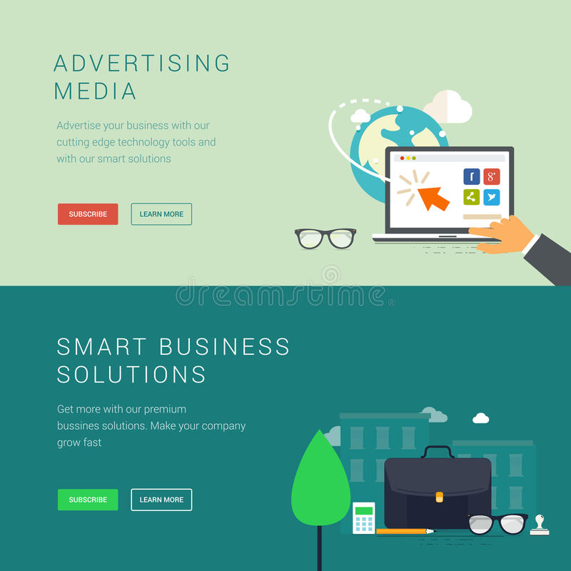 Reklamowi środki i mądrze biznesowi rozwiązanie sztandary ilustracja wektor