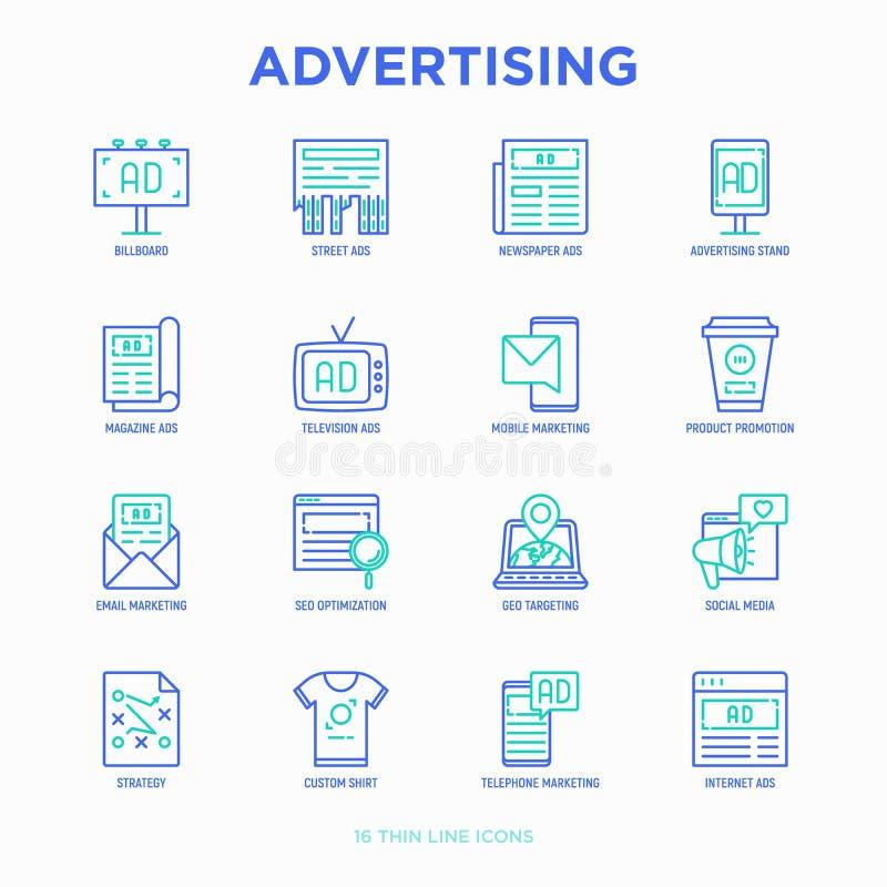 Reklamowy cienieje kreskowe ikony ustawiać: billboard, uliczne reklamy, gazeta, magazyn, produkt promocja, email, GEO celuje, soc ilustracji