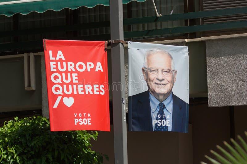 Reklamowy plakat Hiszpańska partia socjalistyczna dla Europejskich wyborów Maj 26, 2019 obrazy royalty free