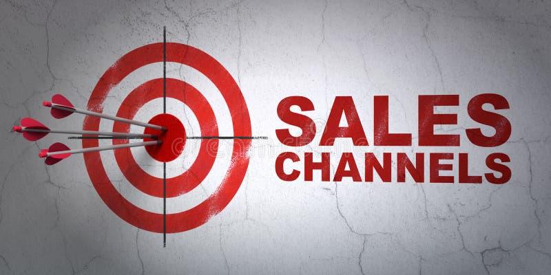 Reklamowy pojęcie: cel i sprzedaż kanały na ściennym tle ilustracji