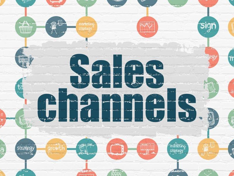 Reklamowy pojęcie: Sprzedaż kanały na ścianie ilustracji