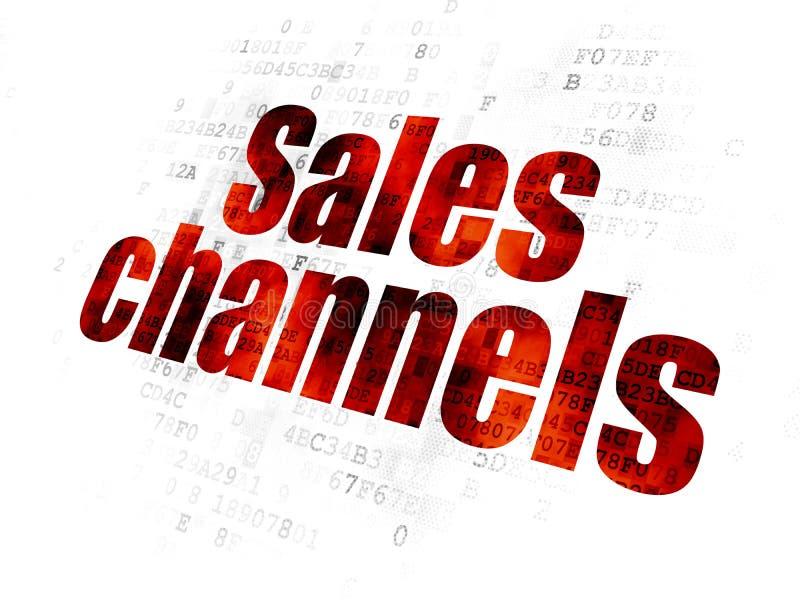 Reklamowy pojęcie: Sprzedaż kanały na Cyfrowego tle ilustracji