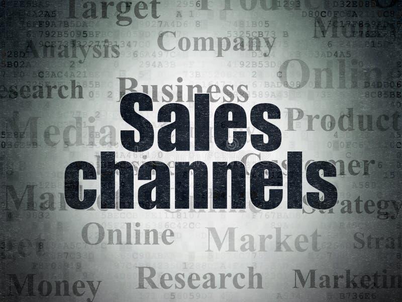 Reklamowy pojęcie: Sprzedaż kanały na Cyfrowych dane papieru tle ilustracja wektor