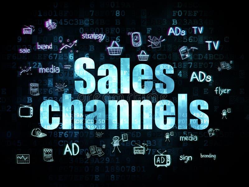 Reklamowy pojęcie: Sprzedaż kanały na Digital ilustracji