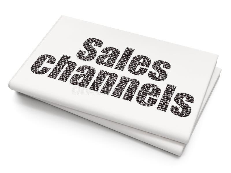 Reklamowy pojęcie: Sprzedaż kanały na Pustym Gazetowym tle royalty ilustracja