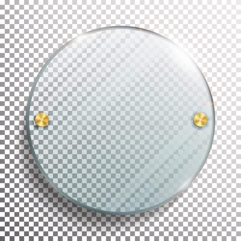 Reklamowy Round Szklany puste miejsce 3D Realistyczna Wektorowa ilustracja reklamowego deskowego okręgu szklany miejsca tekst twó royalty ilustracja