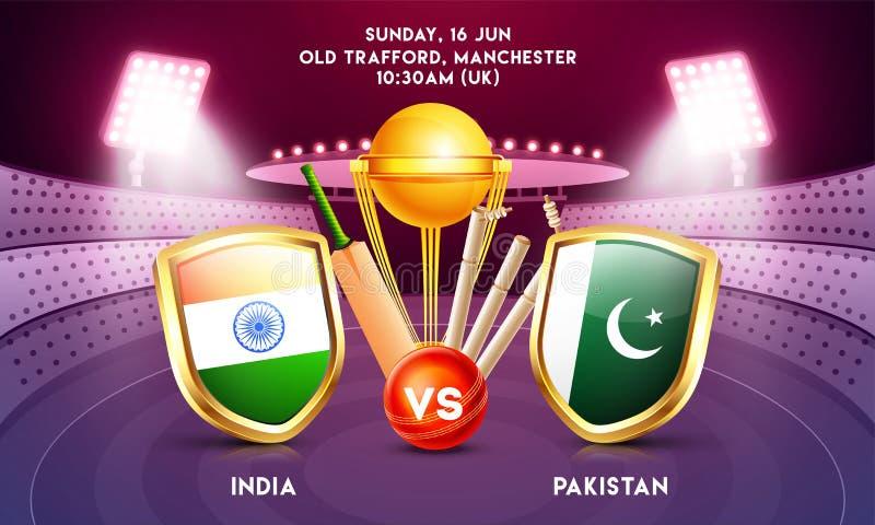 Reklamowy sztandar lub plakatowy projekt z krykieta turnieju uczestnika krajem India vs Pakistan ilustracja wektor