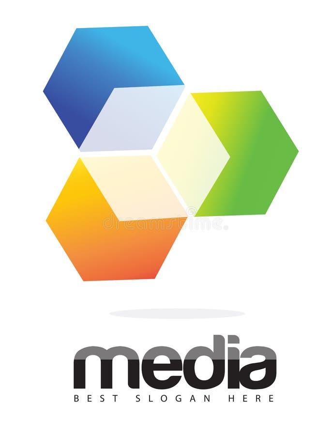 Reklamowych środków 3D sześcianu loga pojęcie ilustracji