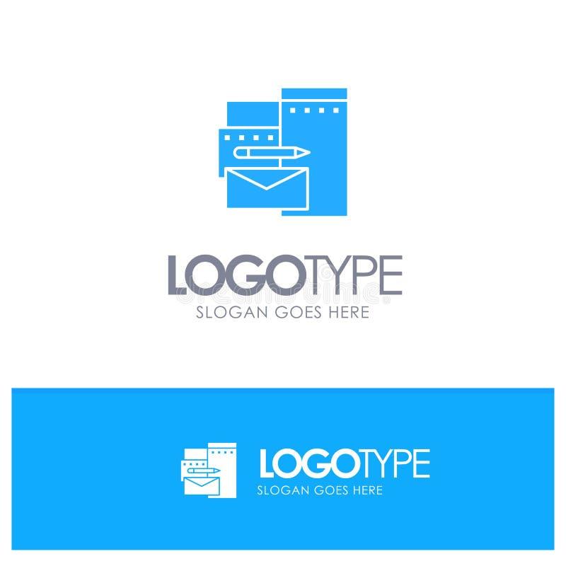 Reklamujący, Oznakujący, tożsamość, Korporacyjny Błękitny Stały logo z miejscem dla tagline ilustracja wektor