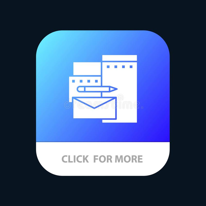 Reklamujący, Oznakujący, tożsamość, Korporacyjny Mobilny App guzik Android i IOS glifu wersja royalty ilustracja