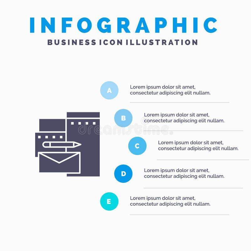 Reklamujący, Oznakujący, tożsamość, Korporacyjny Stały ikony Infographics 5 kroków prezentacji tło royalty ilustracja