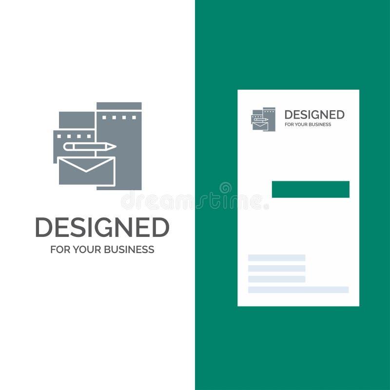 Reklamujący, Oznakujący, tożsamości, Korporacyjny Popielaty logo projekcie i wizytówki szablonie, ilustracja wektor